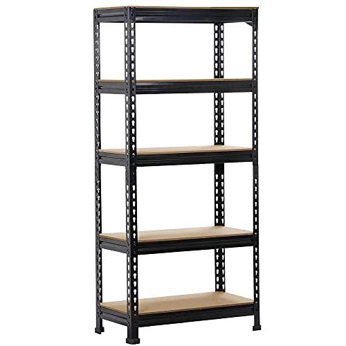 Yaheetech Black Adjustable 5-Shelf Shelving Unit Storage Rack Utility Rack Garage Shelves Display Rack Steel Boltless Rivet Rack,59.1 inches Height 1-Pack