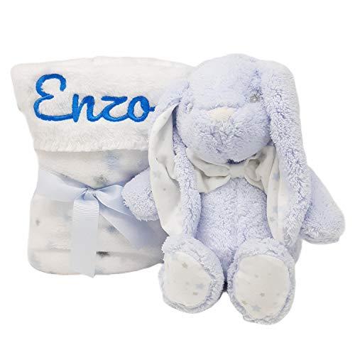 Mababyshop- Set Manta y Peluche Personalizado para regalo de recién nacido   Detalles de Nacimiento Personalizados   Modelo Bunny… (Azul)