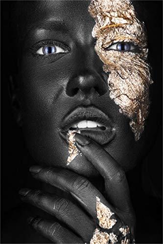5D DIY Pintura Diamante Kits,Taladro Redondo Completo,Retrato de Mujer Africana de Oro Negro 30x40cm,Kit de Arte de Diamante DIY Bordado de Diamantes Adultos Niños Punto de Cruz Decoración de la