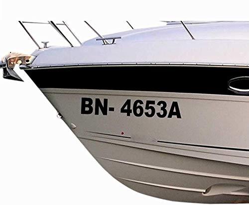 2 x amtliche Bootsnummern/ Bootskennzeichen aus seewasserfester Hochleistungs Klebe Folie, viele Farben & Schriften zur Auswahl + gedruckte Montageanleitung von