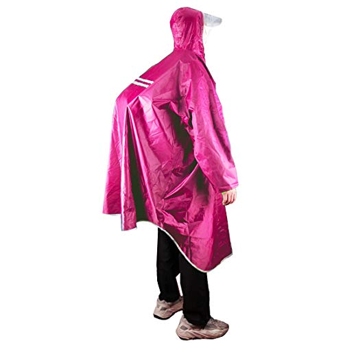 KRATARC Outdoor Rain Poncho Reflective Waterproof Raincoat Camping Hiking Cycling with Hood for Men Women Adult (Pink)