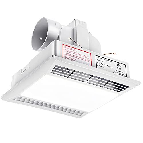 Bathroom Exhaust Fan Shower Ceiling Ventilation with LED Light, ETL Certified Quiet Bath Fan Light Combo 1.0 Sones, 110 CFM, White Ceiling Fan Vent for Home Household