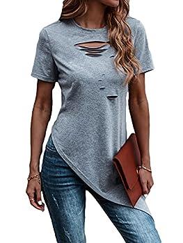 Romwe Women s Short Sleeve Ripped Asymmetrical Hem Tunic Tops T Shirt Tee Grey L