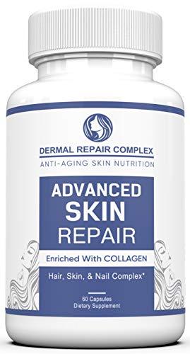 41RLQ5jlWSL - Dermal Repair Complex Skin Supplement - Advanced Collagen, Hyaluronic Acid and Vitamin C for Anti-Aging & Skin Health Support 60 Capsules
