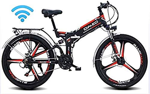 RDJM Ebikes 24' Folding Ebike, 300W Electric Mountain Bike for Adults 48V 10AH Lithium Ion Battery Pedal Assist E-MTB with 90KM Battery Life, GPS Positioning, Oil Brake (Color : Black)