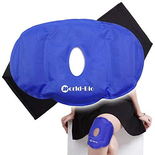 Paquete de frío de gel de hielo para rodilla para rodilla reutilizable con correa - Perfecto para cirugía de reemplazo, hinchazón, alivio del dolor articular, artritis y más - (9.8