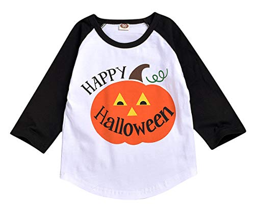 Toddler Kids Baby Halloween Costums Boy Girl Autumn Winter Pumpkin Long Sleeve T-Shirt Tops Outfit Shirt Clothes White
