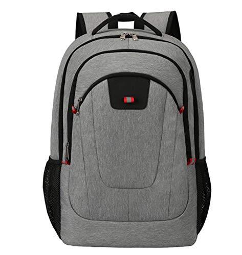 Waterproof Travel Rucksacks Daypack Lock 17inch Laptop Backpack with USB Charging Port Earphone Hole Lightweight School College Daypack for Students/Men/Women (Grey)