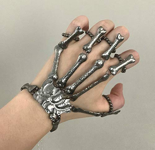 Cathercing Halloween Horror Hand Finger Bone Punk Bracelet for Women Men Kids Chic Unique Jewelry Accessories Prom Party (black)