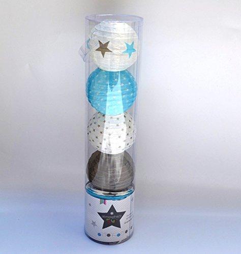 ATMOSPHERA Chaîne lumineuse 10 LED - boules, taupe et bleu