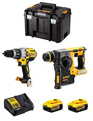 DeWALT Kit DWK223 (Taladro Percutor DCD996 + Martillo Perforador DCH273 + 2 Baterías de 5,0 Ah + Cargador + TSTAK VI)
