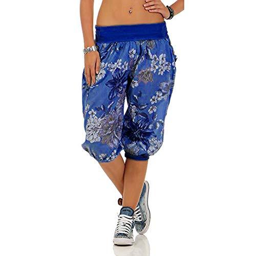 Xmiral Yoga Hosen Damen Lose Bandbreite Weite Hosen Gedruckte Caprihose Sporthose Große Größe Sweatpants(Blau,4XL)