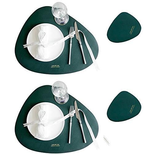 Teeyyui Juego de manteles individuales de cuero, 4 alfombrillas triangulares para mesa de comedor, resistentes al calor, antideslizante, para vajilla familiar de cocina (verde)