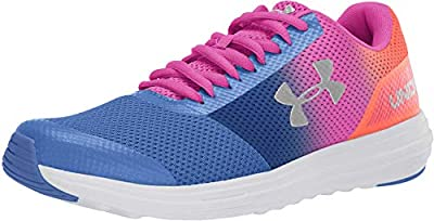 Under Armour Girls' Grade School Surge Prism Sneaker, Tempest (400)/Peach Plasma, 3.5