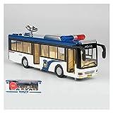 AoPong Coche de policía de los niños modelo de autobús de aleación anti-caída autobús juguete coche sonido y luz metal coche autobús caja policía coche juguete regalo