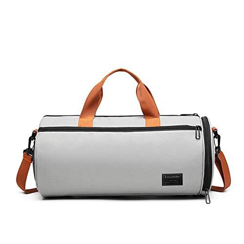 Multicolor Sports Gym Bag Single Shoulder Female Travel Bag Training Bag Yoga Bag Ladies Shoe Compartment Dry and Wet Separation Bucket Multi-Function Bag (灰色)
