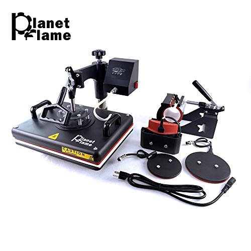 "PlanetFlame Factory 12""x15"" Combo 5 in 1 Heat Press Machine, CE Sublimation DIY T-Shirt Hat Mug Plate Cap and More, Swing Away Heat Transfer Presses"