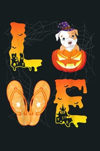 Moon Flip Flop Bat Spider Pumpkin LOVE Pitbull Halloween Day: Notebook Planner - 6x9 inch Daily Planner Journal, To Do List Notebook, Daily Organizer, 114 Pages