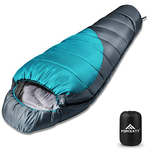 FORCEATT Mummy Sleeping Bag for 3-4 Seasons,Use Temperature is 14°F-59°F, Backpacking Sleeping Bag for Adults and Kids,Warm,Tearproof and Waterproof,Weight is 3.57lb,for Hiking, Camping