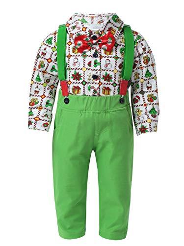 MSemis Disfraz Papá Noel de Fiesta Navidad para Bebé Niños Conjuntos de 4pcs Camiseta Manga Larga+Pantalónes+Tirantes+Corbata Traje de Caballero de Bautizo Verde 1-2 años
