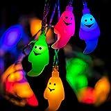 Guirnalda de luces de Halloween 30 LED blanco fantasma Horrific luces de cadena funciona con pilas para Halloween decoraciones de interior al aire libre, 14.8 pies, multicolor