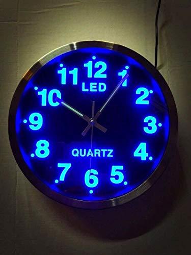 Wel Wanduhr Quarzuhr Designuhr Rund, Gross Küche Uhr, LED Beleuchtung