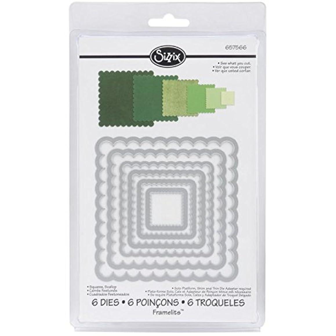 Sizzix Framelits Dies 6/Pkg-Scallop Squares