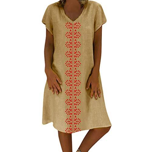 VEMOW Falda Larga Mujer Vestido de Mujer de Estilo Veraniego con Cuello en V de algodón y Lino Informal y de Talla Grande para Mujer(WB Caqui,5XL)