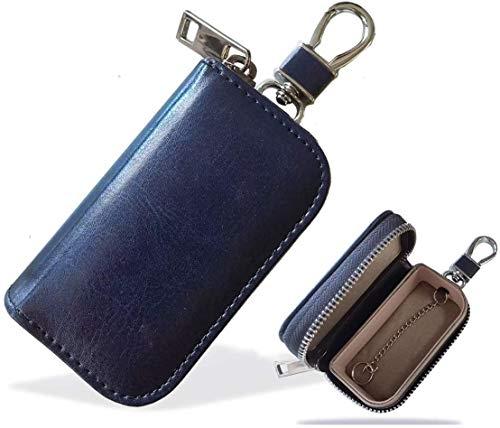 MONOJOY Faraday Tasche für Autoschlüssel, Autoschlüssel Signal Abschirmbox, RFID Diebstahlschutzbox aus Leder, Fernbedienung schlüsseletui mit Haken & Schlüsselring (Blau 2)