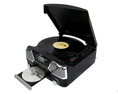 Camry CR 1134 b Radio und Schallplattenspieler mit CD/MP3/USB, Aufnahmefunktion schwarz