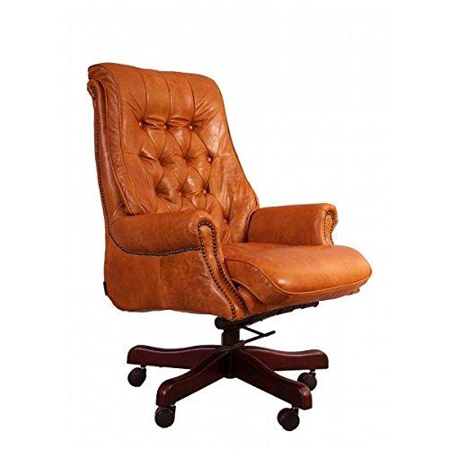 Bürosessel Belford Leder Columbia Brown Chesterfield-Knopfmuster Büro Stuhl Sessel