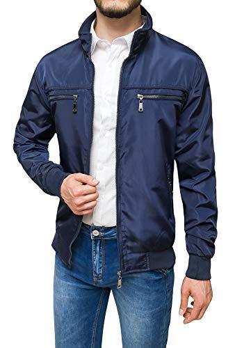 Evoga Giubbotto giacca uomo casual primavera estate giubbino moto slim fit (A1 Blu Scuro, xx_l)