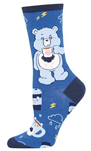 Socksmith Womens More Coffee Less Grumpy Care Bears Novelty Crew Socks, Blue