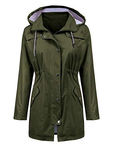 LOMON Raincoat Women Waterproof Long Hooded Trench Coats Lined Windbreaker Travel Jacket Army Green M