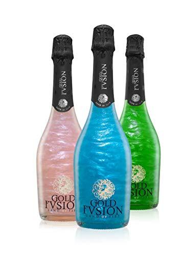 Pack vino espumoso tres botellas GOLD FVSION (Romantic,Infinity y Wild)- ideal Día del Padre, cumpleaños, carnaval, Halloween, fiesta, celebración, boda, brindis
