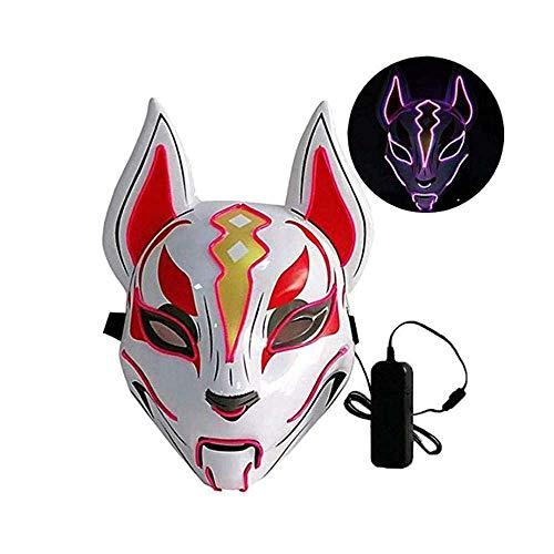 Yjdkd Fuchmasker met LED-verlichting, Halloween-kostuum, Cosplay Masquerade Puntelli kostuum Halloween