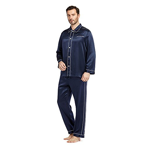 LilySilk Men Silk Pajamas Set Summer 22 Momme Most Comfortable Sleepwear Navy Blue M