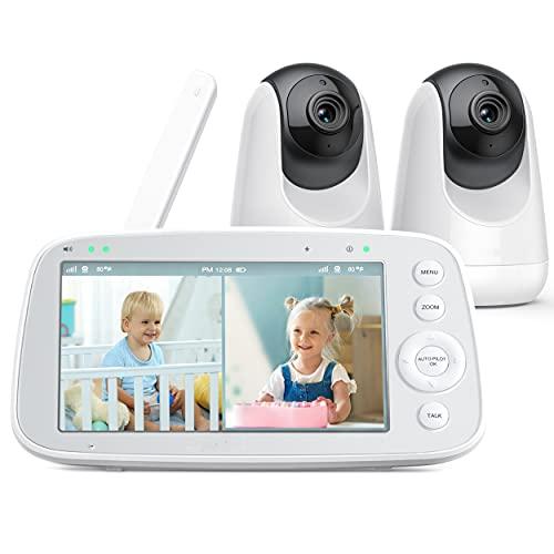 Babyphone mit teilbarem Bildschirm, 5' 720P Video Babyphone mit 2 Kameras, Audio und Video Überwachung, Schwenken Neigen Zoom, 300m Reichweite, 4500mAh Akku, Infrarot Nachtsicht und Wärmemonitor