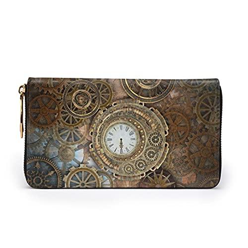 Rusty Steampunk reloj impreso cartera de cuero mujeres cremallera bolso embrague bolsa de viaje tarjeta de crédito titular, Black (Negro) - Black-48