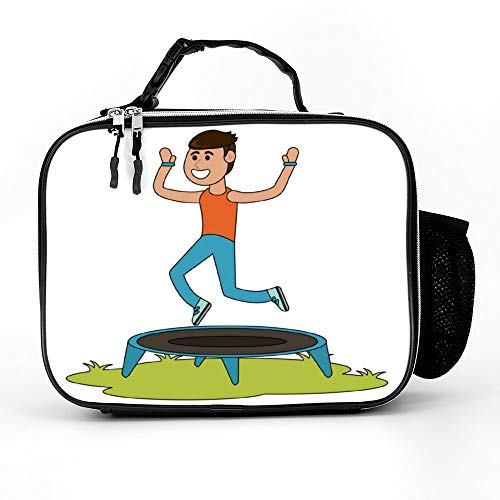 happygoluck1y Man Springen Op Trampoline Cartoon Lunch Tassen Geïsoleerde Rits met Zakken Draagbare Lunch Box voor Vrouwen voor Werk voor Kinderen