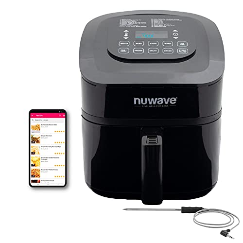 NUWAVE BRIO 6-Quart Digital Air Fryer with Probe One-Touch Digital Controls, 6 easy presets, Precise Temperature Control, Recipe Book, Basket Divider, Wattage Control, PREHEAT & REHEAT Function