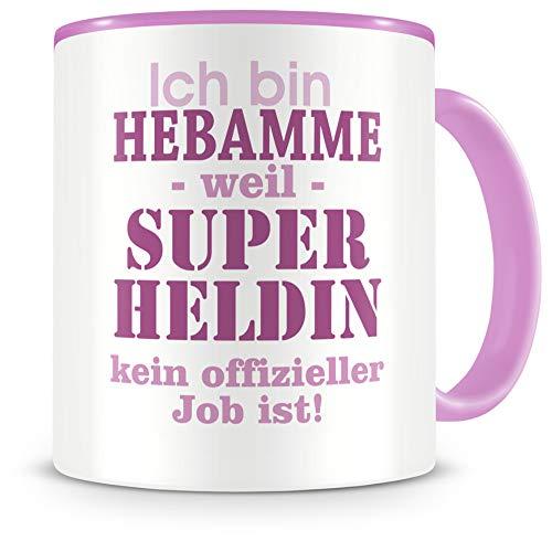 Samunshi® Ich bin Hebamme Tasse Beruf Geschenk Kaffeetasse Teetasse Kaffeepott Kaffeebecher Becher in 2 Größe und 372 Farben (Hebamme 300ml rosa/rosa)