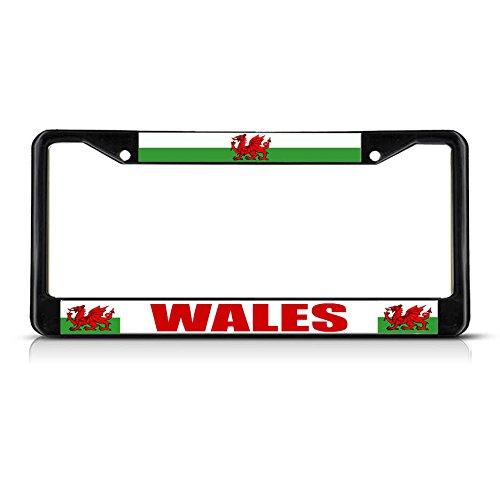 Bandera de Gales Rojo Dragón Gales País Negro Estudio Metal Placa Marco de Licencia Hombres Mujeres Coche Garadge Decor