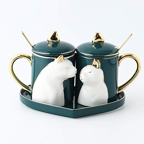 CUTEY Taza de café, Taza de Moda, té de la Tarde, Taza de cerámica, Copa de Agua y Taza de Agua de Personalidad Creativa, Cuchara, Caja, día de San Valentín, Aniversario,Cat