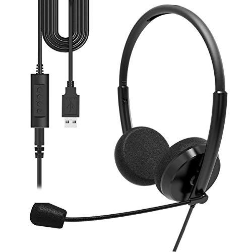 Cuffie USB con microfono cancellazione del rumore e controlli audio, cuffie USB cablate PC super leggere e confortevoli per conferenze aziendali