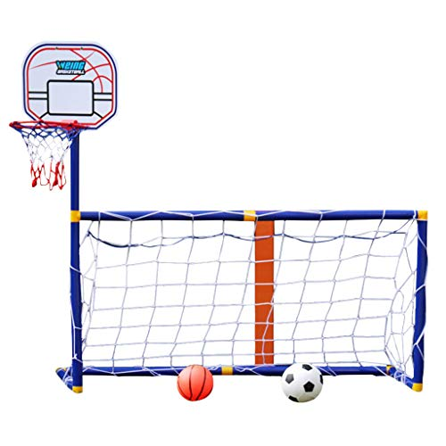 Kids Soccer Goal with Basketball Hoop, 2 in 1 Indoor and Outdoor Basketball Plate Football Goal Combination Toy Set for Boys & Girls, Sports Ball Game Children (Blue)