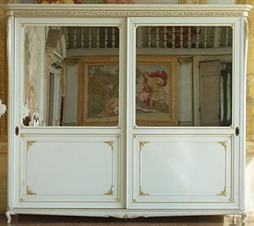 Casa Padrino Armario de Dormitorio Barroco de Lujo Blanco/Oro 290 x 68 x A. 254 cm - Armario con 2 Puertas correderas de Espejo - Noble y Magnífico