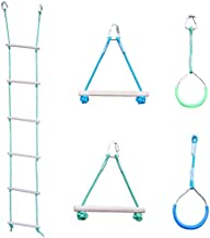 SENSORY4U Quality Indoor Outdoor Sensory Gym Obstacle Course Accessories - 5 Pc Set Includes Rope Ladder, Rings, Swing Trapeze Monkey Bars - Great Additions for Your Ninja Warrior Slackline