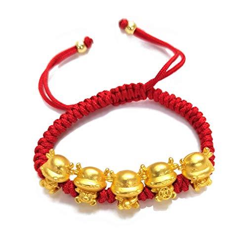 VVXXMO Mascot Five Fortunes - Pulsera de cuerda roja de vaca dorada, pulseras de bendición de la suerte, regalo de año nuevo chino