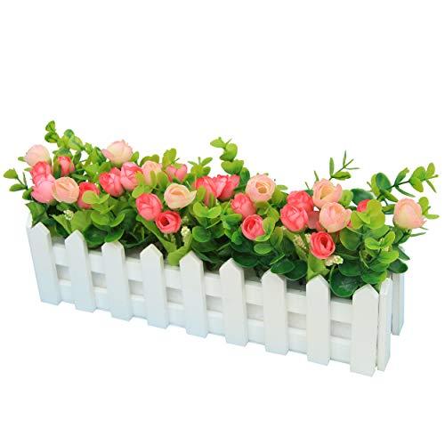 Flikool Artificielle Topiaire Pot Plantes Potted Plant Faux Artificiel Fleur Roses Truque Bonsai l'herbe Verte Simulation Verdure Arbre avec Cloture Maison Mariage Interieur Decoration - Rose